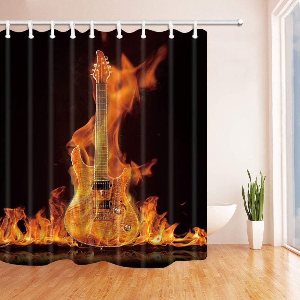 Nyngei Hermosa Guitarra de Siete Cuerdas encendida sobre un Fondo Negro Baño de Tela de poliéster Conjunto de baño con Ganchos 180X180CM