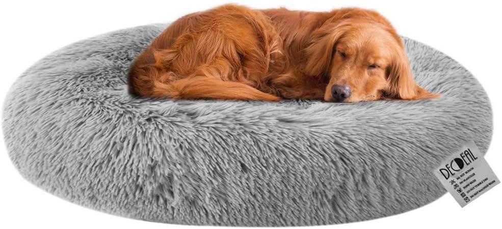 Decdeal Cama de Felpa Rredonda para Gatos Cama Suave Dount para Perros Talla Grande para Perros Grandes Medianos Descansado