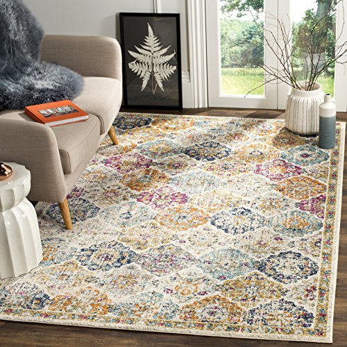 Safavieh Madison Collection MAD611B Cream and Multicolored Bohemian Chic Distressed Area Rug (5' Square)