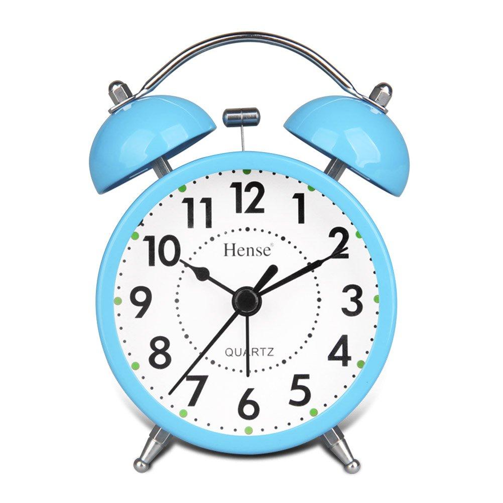 HENSE Classical Retro Twin Bell Mute Silent Quartz Movement Non Ticking Sweep Second Hand Bedside Desk Analog Alarm Clock Nightlight Loud Alarm HA01 (Orange)