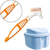 Denture Case, Denture Cup with Strainer Denture Bath Box with Cleaning Brush, Deture Bath for Retainer Cleaning