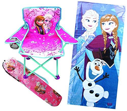 Beach Towel Bundle: Frozen Anna & Elsa Fold N Go Chair For Kids And Frozen