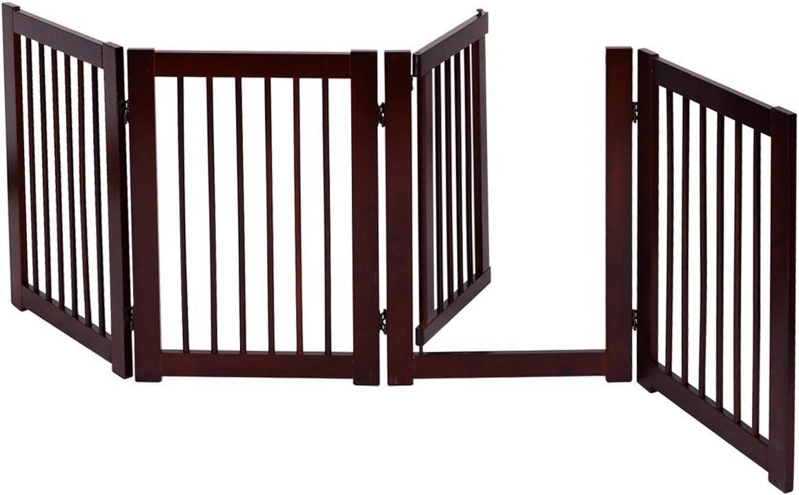 COSTWAY Barrera de Puerta de Seguridad Bebé Niño Rejilla para Perros Mascotas Puerta Escalera Protección Plegable de Madera (203 x 76 x 1,8cm): Amazon.es: Bebé