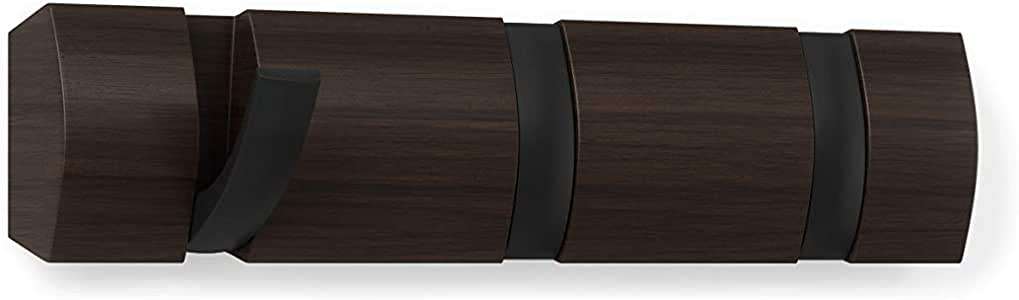 28.257999999999999 x 6.9850000000000003 x 3.4929999999999999 cm Black//Walnut madera Barra para pared Umbra con 5 ganchos