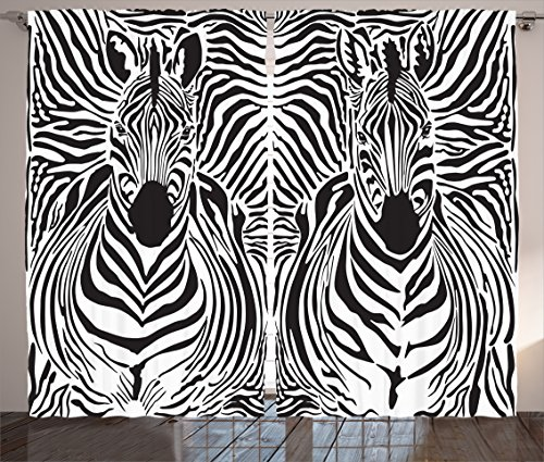 Ambesonne Zebra Print Decor Curtains, Illustration Pattern Zebras Skins Background Blended Over Zebra Body Heads, Living Room Bedroom Decor, 2 Panel Set, 108 W X 84 L Inches, Black (Blended Panels Wall Art)