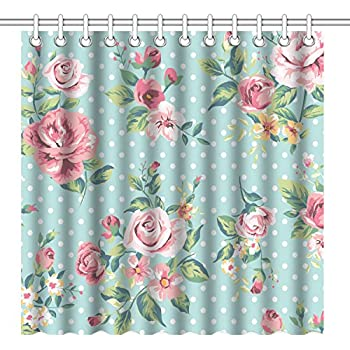 Wknoon 72 X 72 Inch Shower Curtain, Vintage Floral Design Seamless Pink Rose  Flowers And