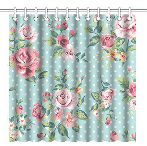 Wknoon 72 x 72 Inch Shower Curtain, Vintage Floral Design Seamless Pink Rose Flowers and White Polka Dots Art,Waterproof Polyester Fabric Decorative Bathroom Bath Curtains
