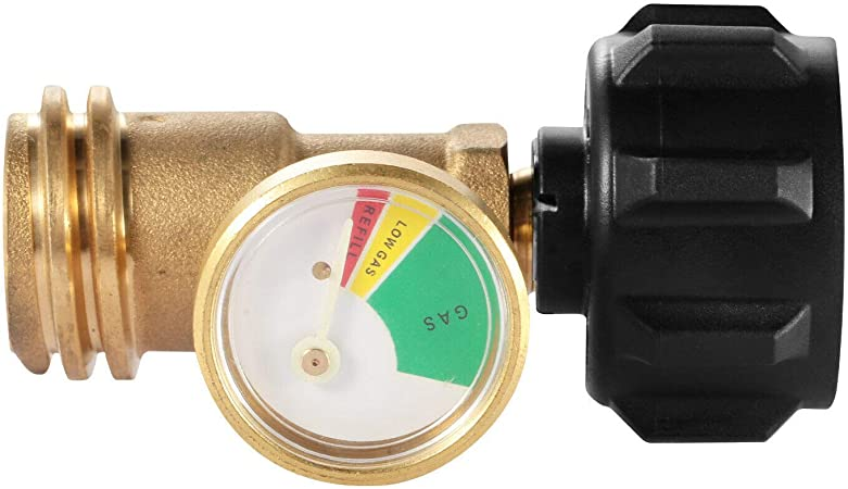 Propane Tank Brass Adapter 4 Master LP Gas Grill BBQ RV W// Pressure Meter Gauge