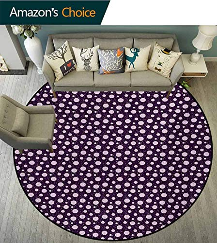 Retro Modern Machine Round Bath Mat,Illustration Of Concentric Circles Little Dots Short Vertical Lines Non-Slip No-Shedding Kitchen Soft Floor Mat,Diameter-51 Inch Dark Purple Pale Pink - Dot Concentric