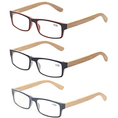 ff206e4a554f Kerecsen Bamboo Temple Reading Glasses Rectangular Glasses Include  Sunglasses Readers (3 Mix Color