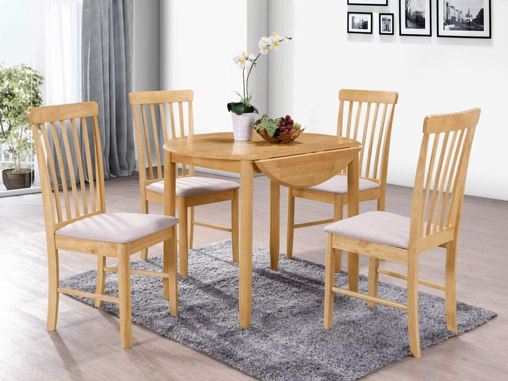 Dining Room Furniture The One Kyla Oak Finish Round Drop Leaf Dining Set Finish: Light Oak Solid wood Extension Dining Table 75 X 91 X 61 extending to 91 cm with 2 Chairs Beige Padded Seat