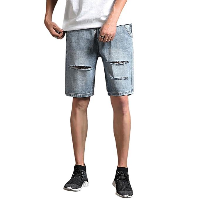 c6b5817707 Zhhlaixing Jeans Denim Hombre Pantalones Cortos Jeans Vaquero Bermuda  Jogging Cómodos de para Hombre Jean Shorts Men Slim Fit Summer Denim  Shorts  ...