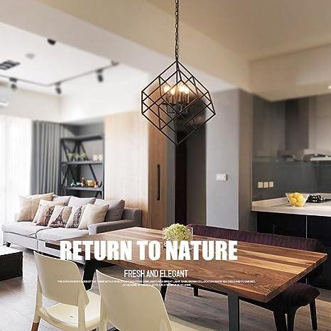 Retro Industrial Colgante de luz Hierro Cuadrado Cubo Diseño ...