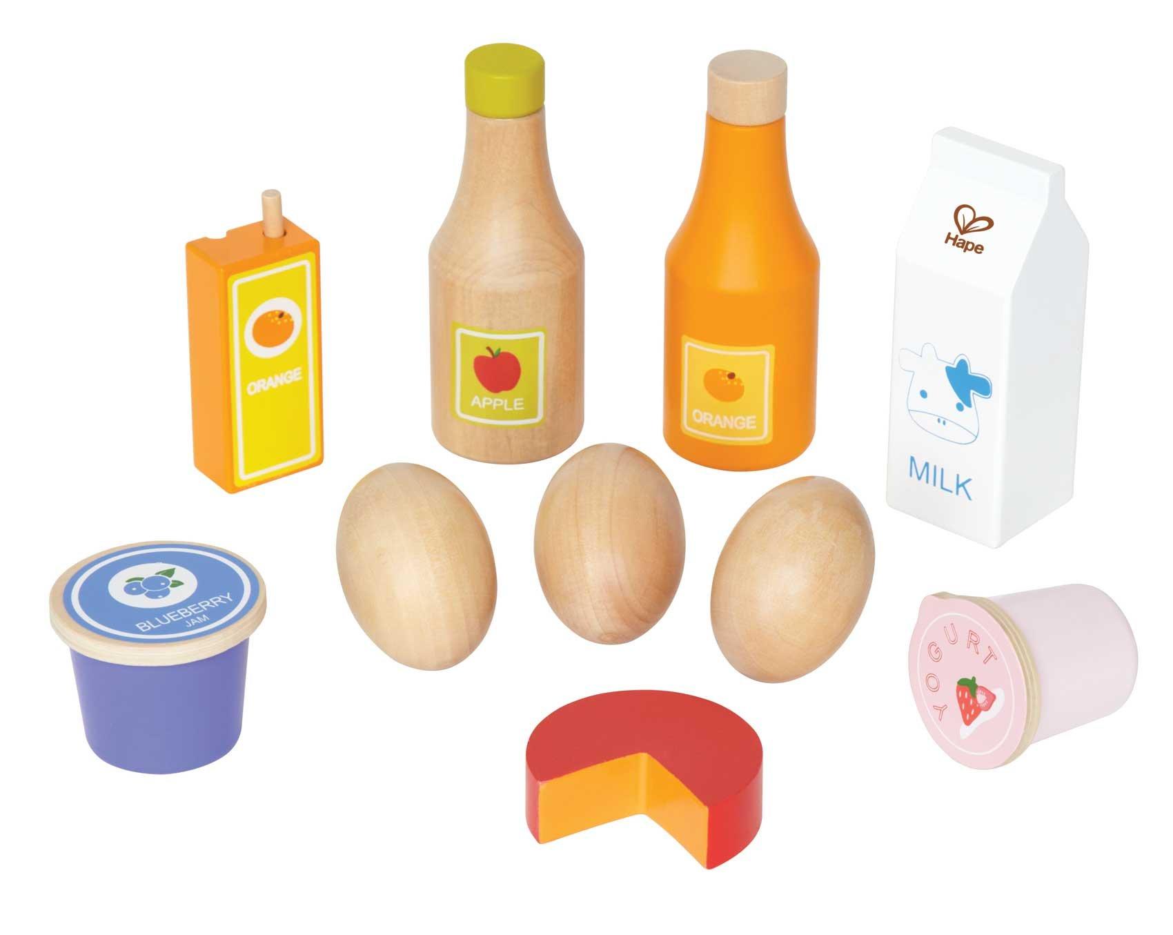 Hape Healthy Basics Kid's Wooden Play Kitchen Accessories Food Set