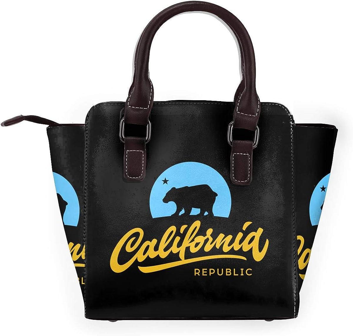 Craifish Sac à main en cuir véritable pour filles Retro California Republic