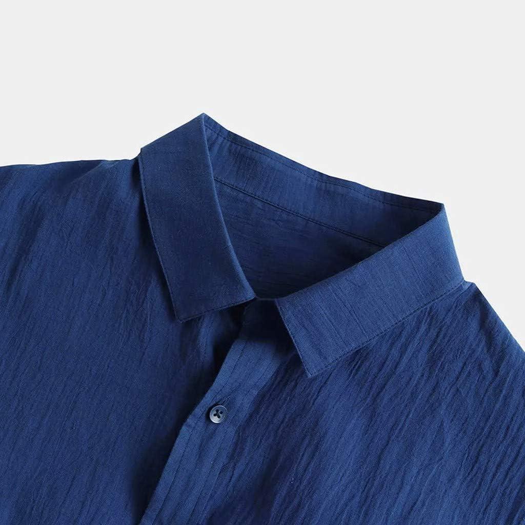 Mens Shirts Linen Casual Tops Tronet Mens Baggy Cotton Linen Solid Long Sleeve Button Retro T Shirts Tops Blouse