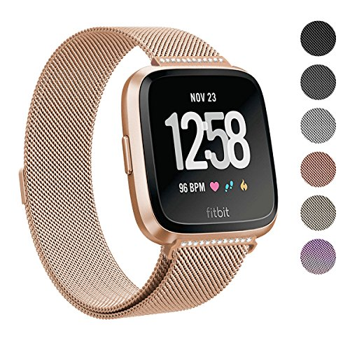Ladies Polished Stainless Steel Case - SWEES for Fitbit Versa Bands for Women Men Small & Large, Milanese Stainless Steel Metal Magnetic Replacement Band for Fitbit Versa Smart Watch, Black, Champagne, Colorful, Rose Gold, Silver, Grey