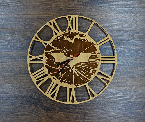 Batman Logo Design Real Wood Wall Clock - Eco Friendly Natural Living Room Wall Decor - Creative Gift Idea for Youth and Teens