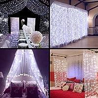 zstbt linkable 304led 9.84ft9.84ft/3m3m cortina de ventana Cadena de luces carámbano Fiesta Boda Casa Patio Césped Jardín decoraciones (Azul), Blanco