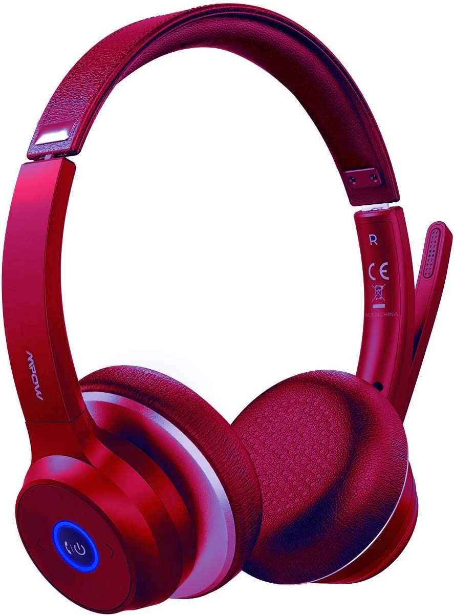 Mpow H2 Bluetooth Headset, Over Ear Wireless Auriculares 3.5 mm Stereo con 4 Modos EQ Sonido, Memory proteína Orejeras para Smartphone/PC (13 Horas de ...