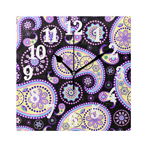 - WIHVE Decorative Wall Clock Paisley On Black Background 7.87 Inch Square Numeral Clock Silent Non Ticking for Home Office School