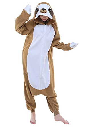 Newcosplay Adult Sloth Anime Unisex Cartoon Pyjamas Halloween Onesie Costume (S)