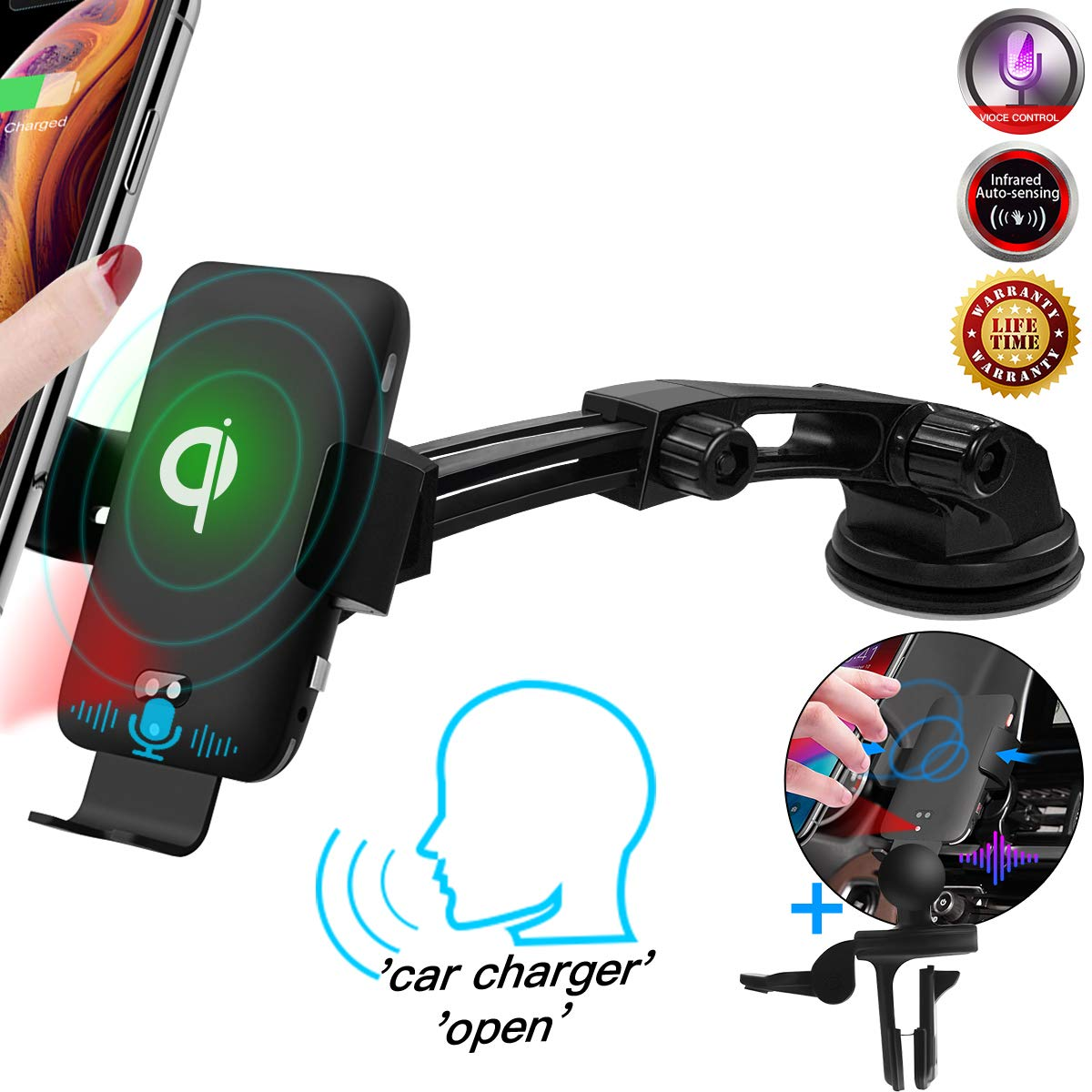 Qi Wireless Car Charger,10W Fast Charging[Auto Clamping][Voice Control]Phone Holder for Car, Dashboard Air Vent Wireless Car Phone Mount for iPhone XR/XS Max/Samsung S10 Plus/S10e,All QI-Enabled Phone