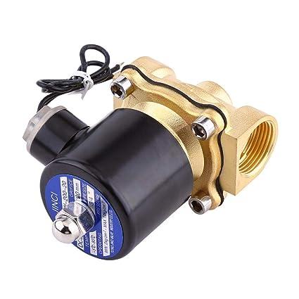 Akozon DC 24V 3//4 DN20 V/álvula solenoide el/éctrica NC normalmente cerrada para aceite de gas de agua