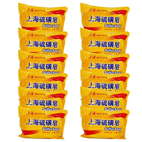 - 8th team (3/6/12 PCS) Shanghai Sulfur Soap Treat Mite Acne Psoriasis Seborrhea Eczema Azufre Bar Soap (12 packs)