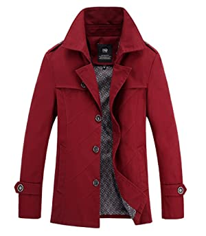 Men's Solid Color Slim Fit Lightweight Button Jackets Lapel Cotton Coat