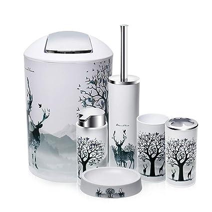Merveilleux O2 Tech 6 Piece Bathroom Accessories Set,Plastic Bath Ensemble Bath Set  Lotion Bottles,