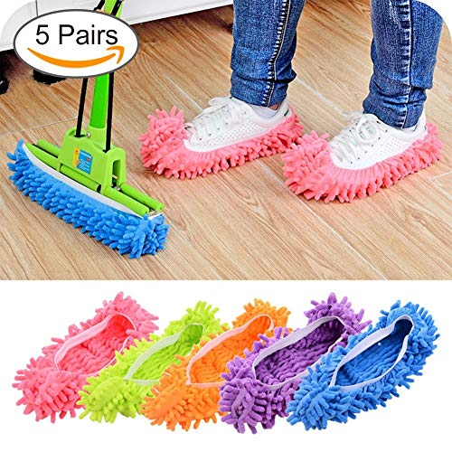 Lanting Dusting Mop Slippers, 5 Pairs Microfiber Sweeping Slippers House Floor Polishing Slippers Dusting Cleaning Foot Socks ()