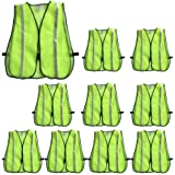 High Visibility Safety Vests 10 Packs,Adjustable Size,Lightweight Mesh Fabric, Wholesale Reflective Vest for Outdoor Works, Cycling, Jogging, Walking,Sports - Fits for Men and Women (10 Pack, Neon Yellow New)
