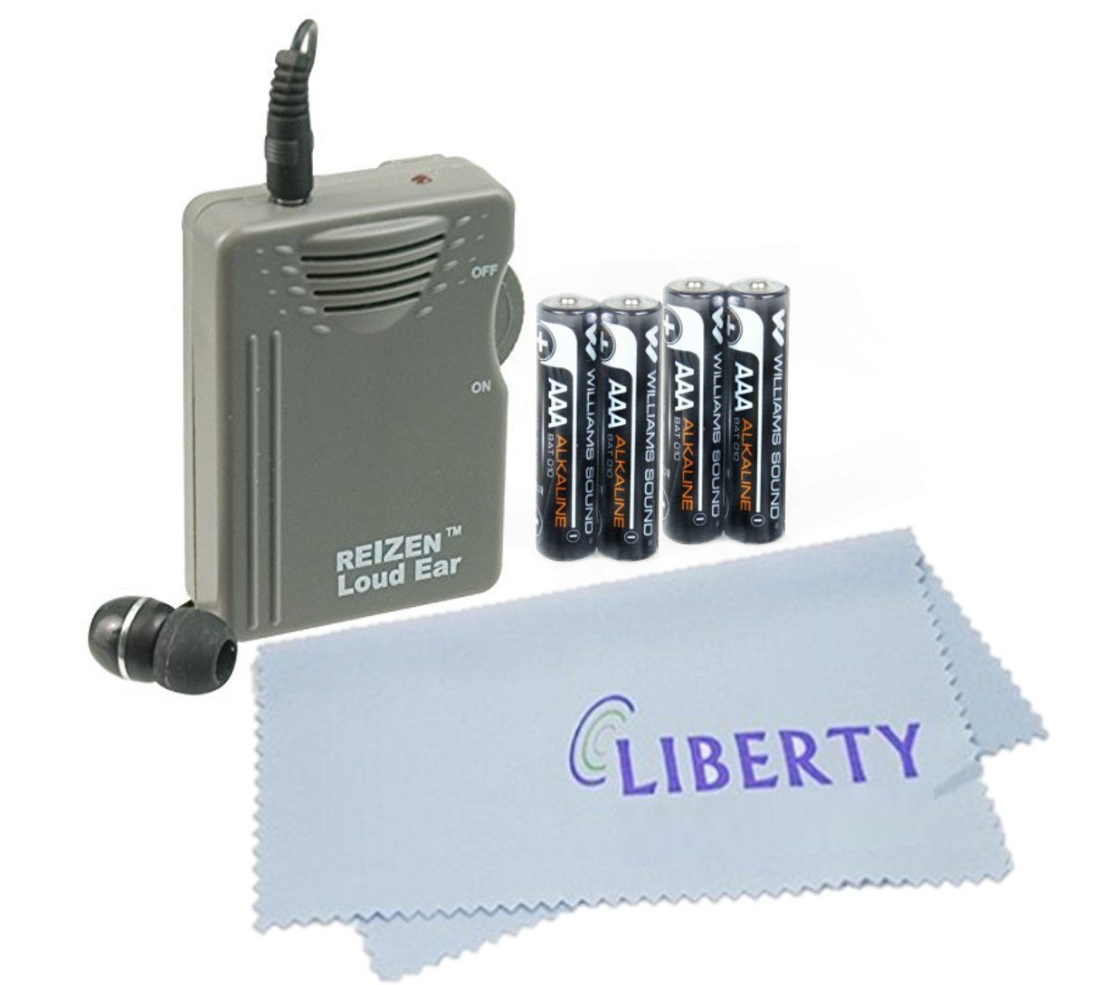 Deluxe Bundle - Reizen Loud Ear 110dB Gain Personal Amplifier With an Extra Pair of AAA Batteries and LIBERTY Cleaning Cloth by Reizen