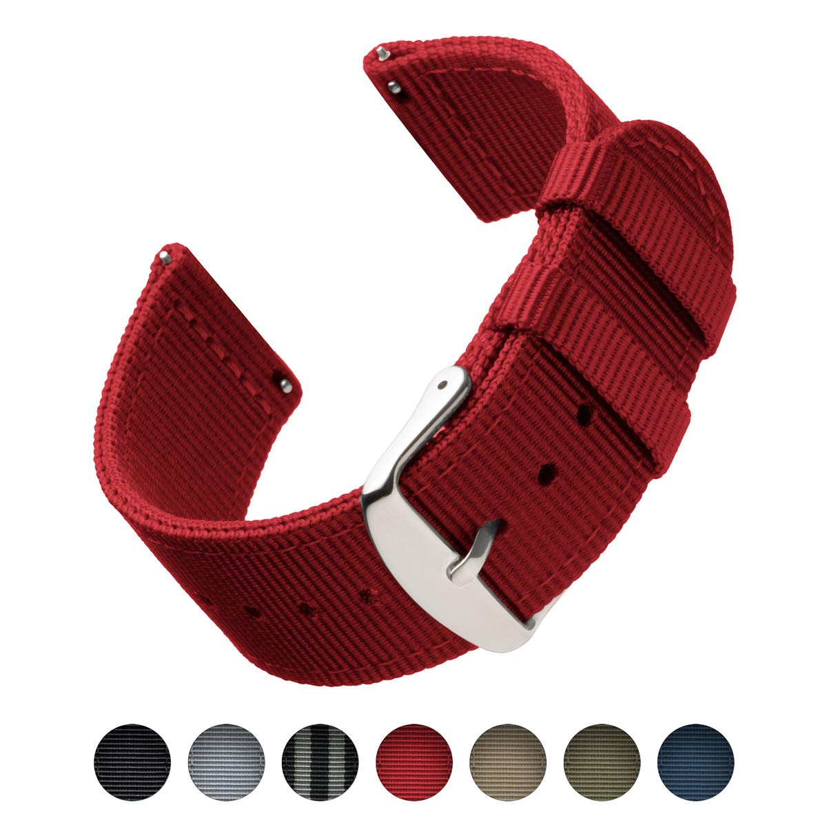 Archer Watch Straps Premium Nylon Quick Release Luna Navy Nokha Sneakers Women 38 Replacement Bands For Men And Watches Smartwatches Red 18mm