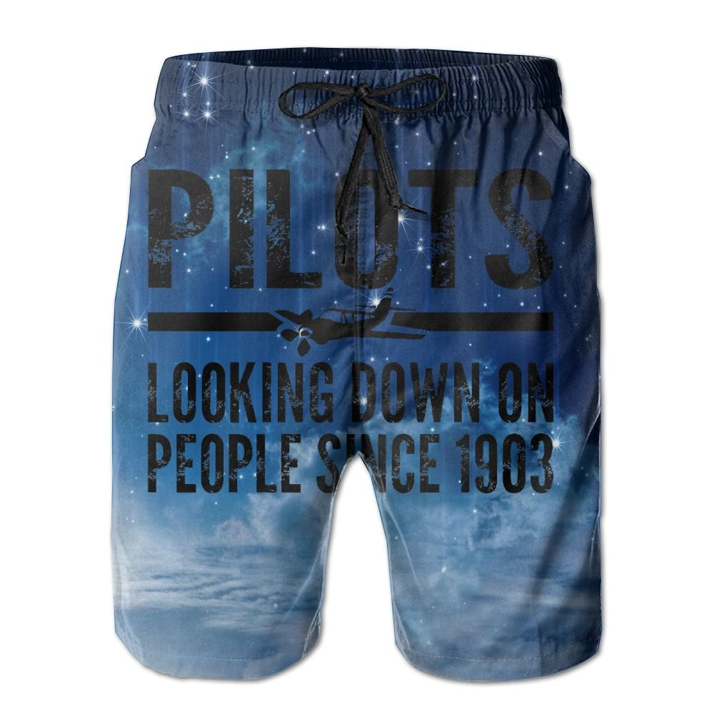 Pilots Looking Down On People Since 1903 Mens Athletic Classic Swim Beach Shorts with Pockets