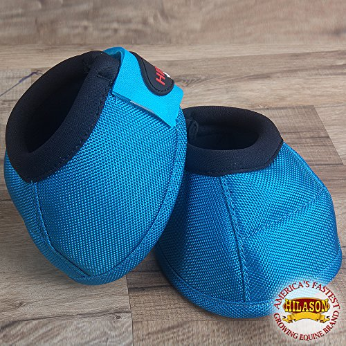 HILASON Medium Horse Ballistic Overreach NO Turn Bell Boots Turquoise