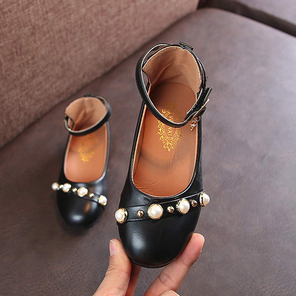 Voberry@ Girls Pearls Mary Jane Flats Leather Pendant Ankle Strap Ballet Thick Heel Dress Shoes