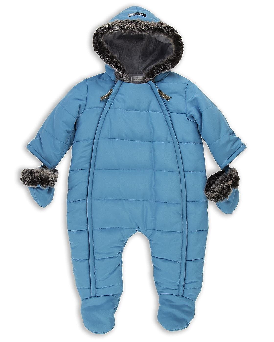 The Essential One - Baby Boys Fur Trimmed Snowsuit Pramsuit/Snowsuit - Blue - EO244