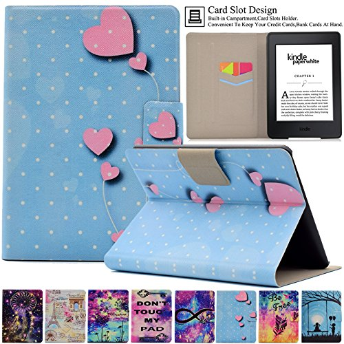 Kindle Paperwhite Case, Artyond PU Leather Case [Card Slot] With [Auto Sleep/Wake] Smart MagneticCase For Amazon Kindle Paperwhite 123 (Fits All 2012, 2013, 2015 and 2016 Versions) (Heart) (Heart 123)