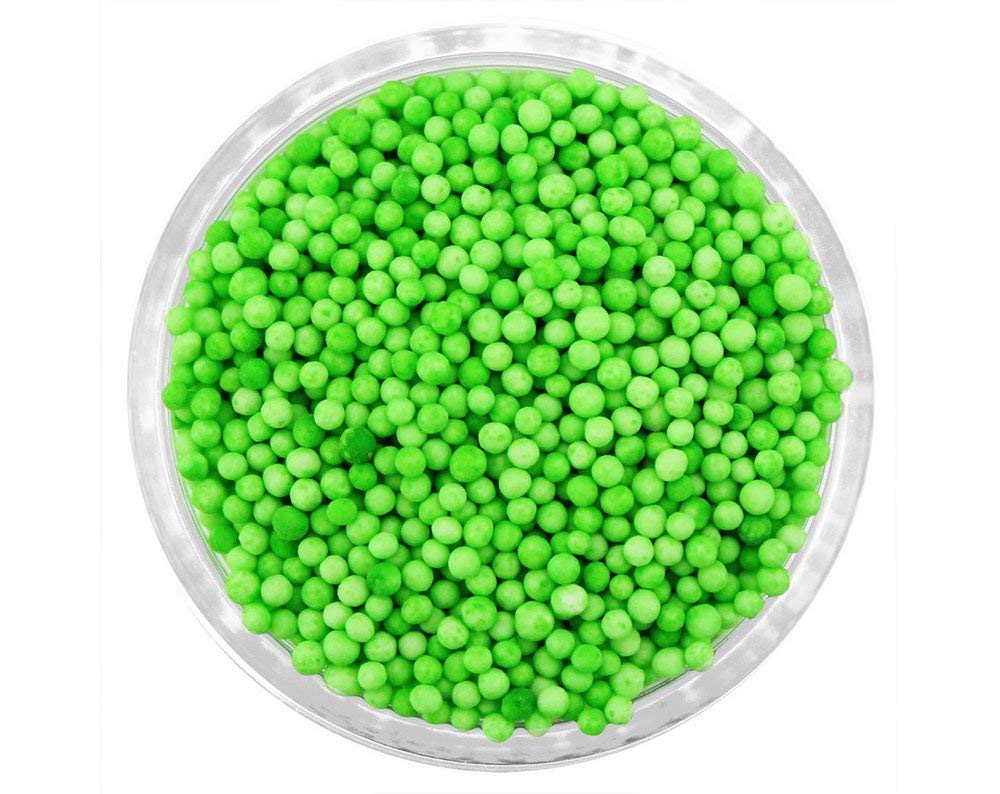 Lime Green Non Pareils - 4 oz - Packaged in a food approved heat sealed bag