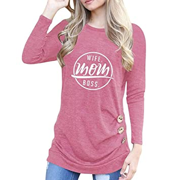 8124a7f9aea Image Unavailable. Image not available for. Color  Womens Tops Casual Long  Sleeve Loose Fitting Button Tunic ...