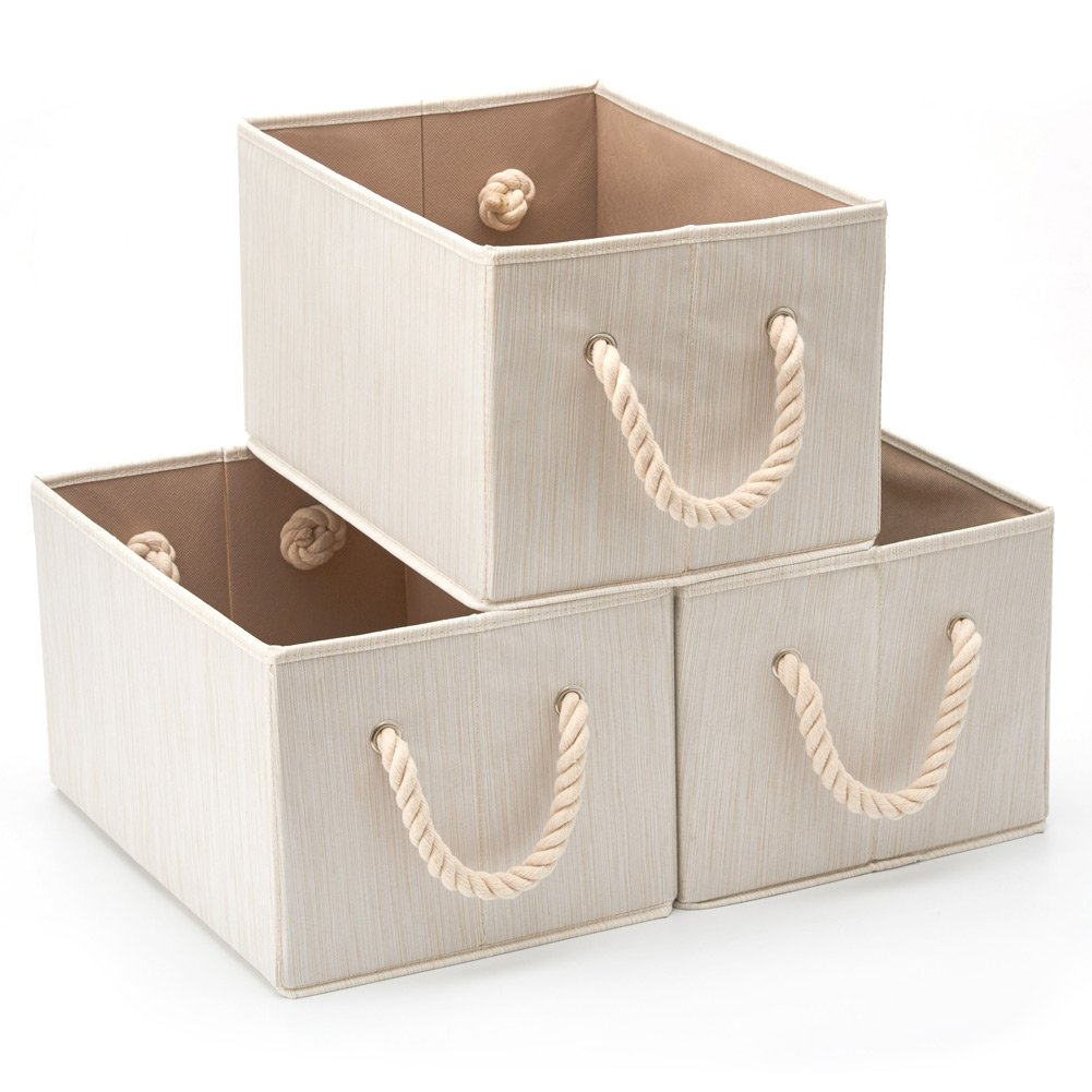 EZOWare Set of 3 Bamboo Large Fabric Storage Bins Organizer with Cotton Rope Handle, Collapsible Cube Basket Container Box for Shelves Closet Toys and More - Beige by EZOWare