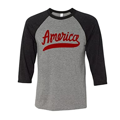 3218b2341f529 TeesAndTankYou America Script 4th of July Baseball Shirt Unisex Small Grey  Black