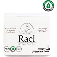 Rael serviettes hygiéniques menstruelles de coton organique - serviettes hygiéniques normales minces avec des ailes (3 Pack de 8 tampons)