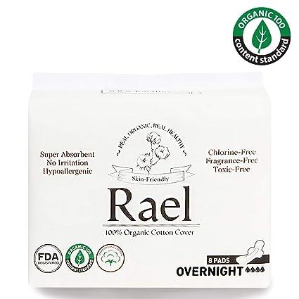 Rael Compresas de 100% algodón ecológico, para noche, ultrafinas con alas