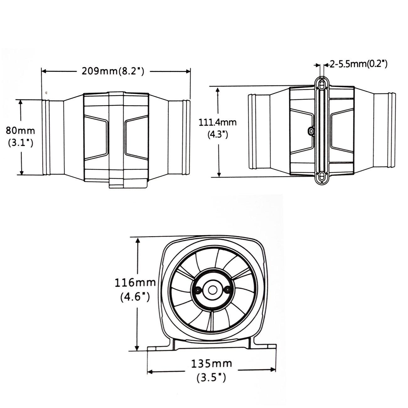 DCHOUSE 130 CFM 12 V 7,6 cm Schlauch Marine Gebl/äse Bilge Vent Fan Bel/üftung Boot Wohnmobil