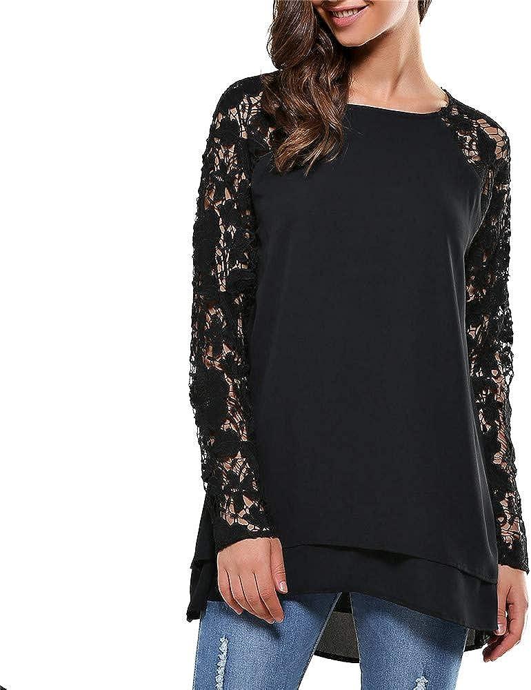 Luckycat Moda Camisa de Manga Larga para Mujer Blusa de Encaje Casual Algodón Suelto Tops Camiseta