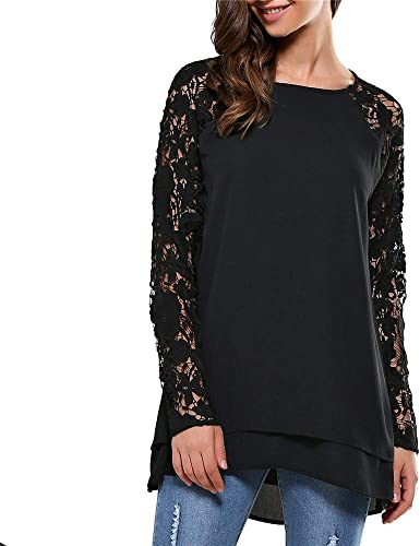Luckycat Moda Camisa de Manga Larga para Mujer Blusa de Encaje Casual Algodón Suelto Tops Camiseta: Amazon.es: Ropa y accesorios