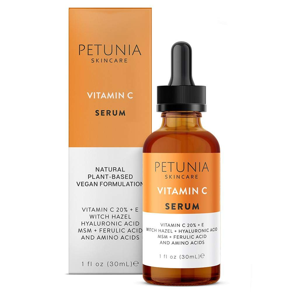 Vitamin C Serum for Face 20% with Hyaluronic Acid and Ferulic Acid, Fades Sun Damage, Dark, Age Spots, Natural Organic Skin Care for Acne Scars and Anti Aging Collagen Booster